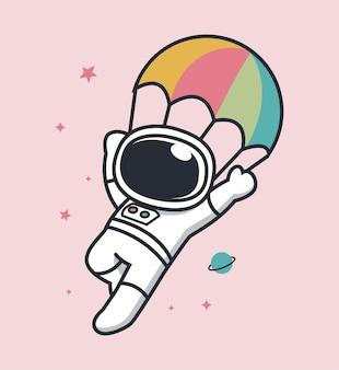 宇宙からパラシュートで降下する宇宙飛行士