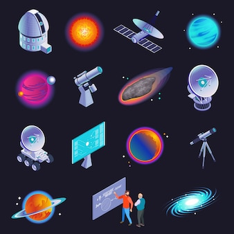 Astrophysics isometric icons with radio telescope spiral galaxy stars planets comet scientists formula black background  illustration