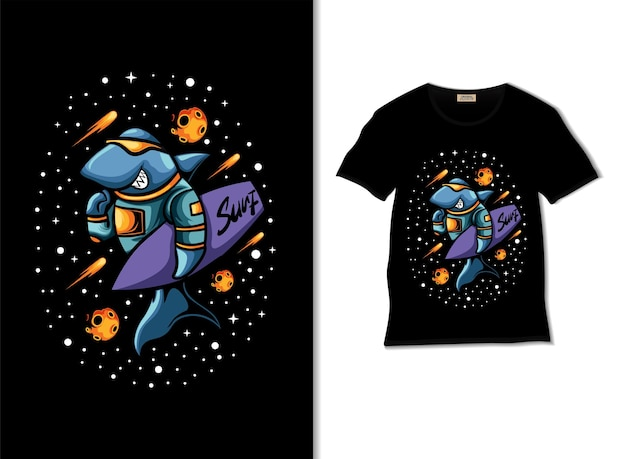 Astroshark carrying surfboard illustration with tshirt design