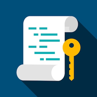 Asymmetric key flat icon. vector illustration with long shadow. computer technology.