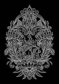 抽象的な花と葉の非対称の飾り。黒と白のぬりえ。