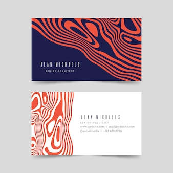 Asymmetrical red distorted lines business cards