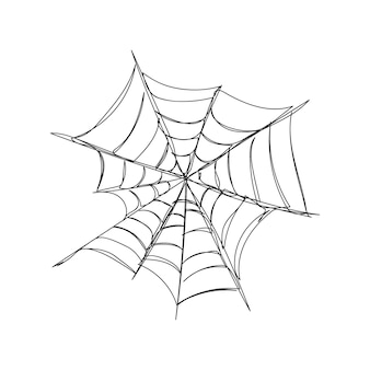 Асимметричная паутина, одна линия, рисунок, непрерывная линия, тема хэллоуина, ужасно, страшно