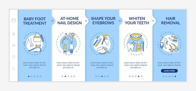 Шаблон адаптации для косметической терапии на дому. дизайн ногтей. отбеливание зубов. депиляция, эпиляция. адаптивный мобильный сайт с иконками. экраны пошагового просмотра веб-страниц. цветовая концепция rgb