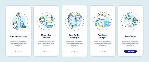 개념이있는 모바일 앱 페이지 화면을 온 보딩하는 집에서 얼굴 관리 절차. 구 아샤 마사지, 페이스 롤러 워크 스루 5 단계 그래픽 지침. rgb 색상 삽화가있는 ui 템플릿