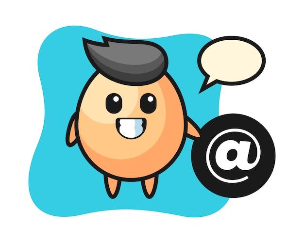 Atシンボル、tシャツ、ステッカー、ロゴ要素のかわいいスタイルの横に立っている卵の漫画イラスト
