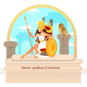 Athena, greek myths character. daughter of zeus,