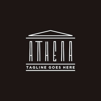 Athena typography with greek historical building logo design