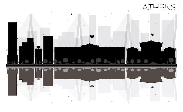 Athens city skyline black and white silhouette with reflections. vector illustration. simple flat concept for tourism presentation, banner, placard or web site. cityscape with famous landmarks.