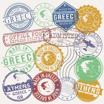 Athens greece set of travel and business stamps