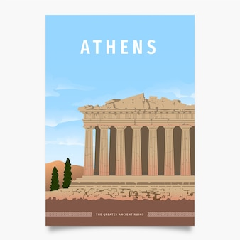 Athens promotional poster template