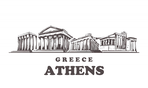 アテネはスカイラインをスケッチします。ギリシャ、アテネ手描きイラスト。白い背景の上。
