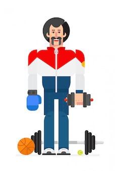 Athlete in a cartoon flat style. vector.