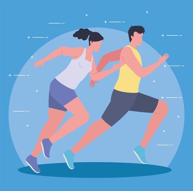 Athlete couple in marathon
