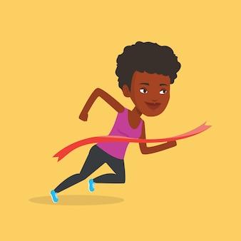 Athlete crossing finish line vector illustration.