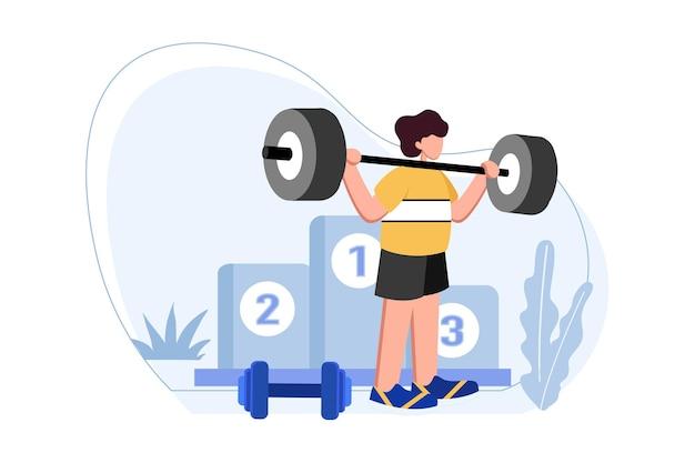 Спортсмен делает тяжелую атлетику на соревнованиях иллюстрации