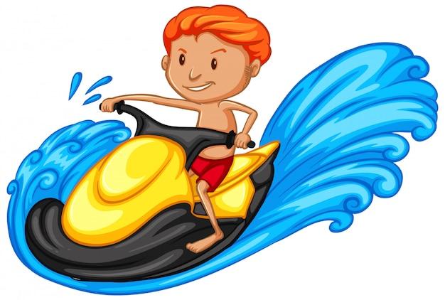 Спортсмен делает водные мотоциклы на белом