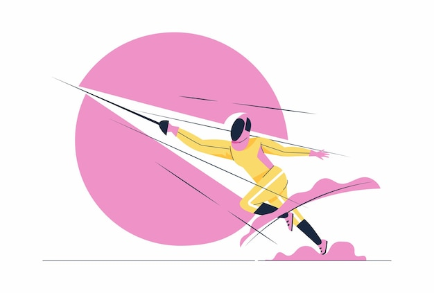 剣を持った衣装を着たアスリートフェンシング男。スポーツマンは、漫画のキャラクターのイラストで競争または練習している剣で前に突進します