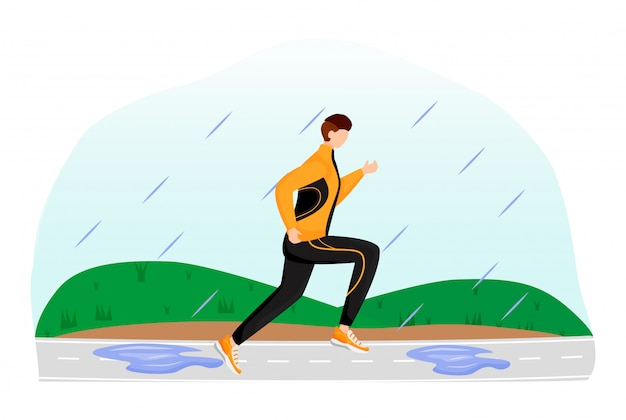 Athlete flat color illustration. male in sportswear and sneakers. rainy day. running sportsman. wet weather. man on running track faceless cartoon character with grass on background