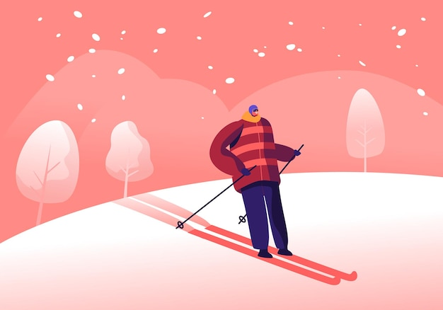 Athlete man in warm clothes, helmet and sunglasses skiing. skier riding downhills at winter season. cartoon flat  illustration