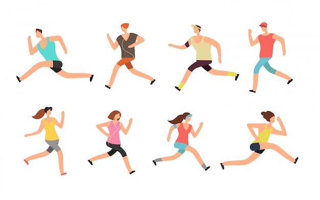 Athlete man and woman running. energetic people runners in sportswear vector set