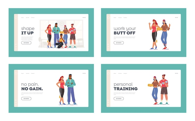 Athlete people workout in gym landing page