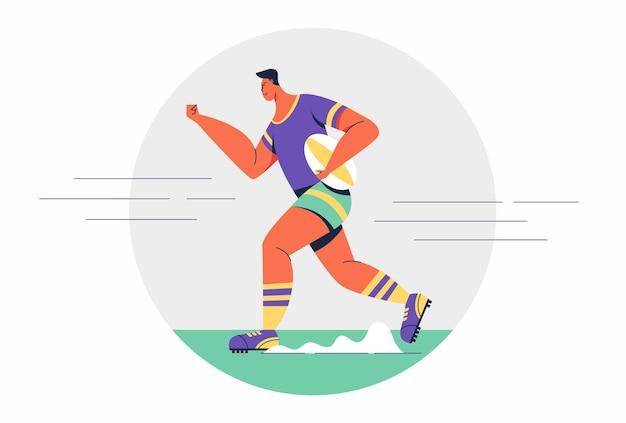 Uomo di rugby dell'atleta che porta la palla da rugby che corre mentre la concorrenza nell'illustrazione del personaggio dei cartoni animati