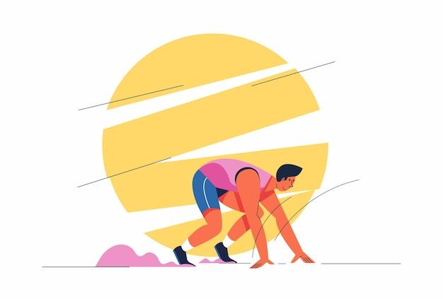 Atleta che corre uomo o velocista allenamento sportivo, illustrazione atletica del personaggio dei cartoni animati