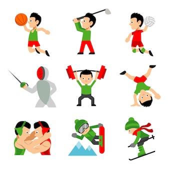 Athlete sportsman activity player character cartoon vector