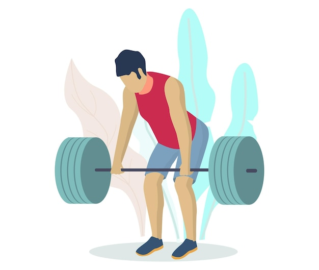 Athlete, sportsman, bodybuilder lifting barbell, flat vector illustration. fitness gym bodybuilding workout. weightlifting, powerlifting sports.