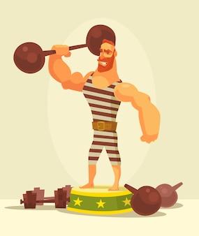 Характер сильного человека спортсмена, держащий гантель.