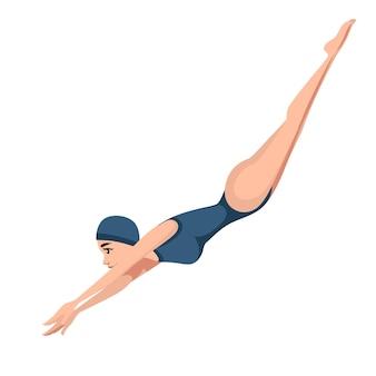 Спортсменка женщина в синем купальнике прыгает в воду мультипликационный персонаж дизайн иллюстрация