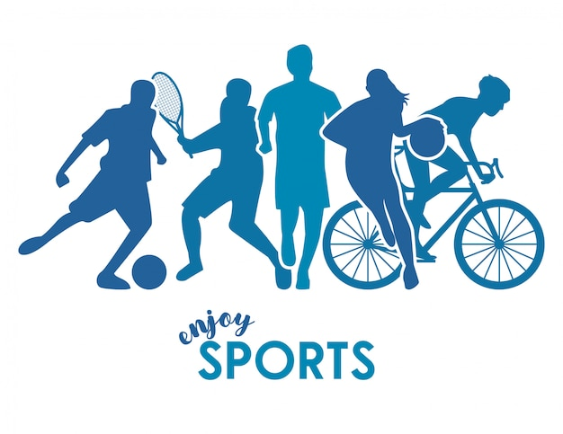 Athletes blue figures silhouettes