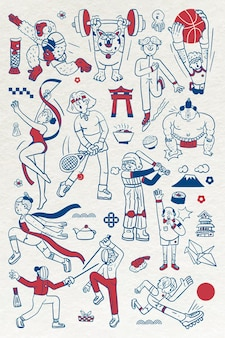 Athletes doodle character collection