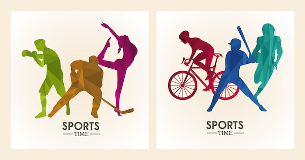 Athletes figures silhouettes