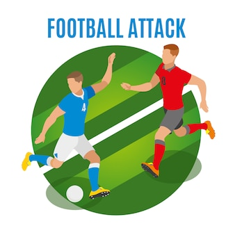 Athletes in form of competing teams fighting for possession of ball isometric illustration
