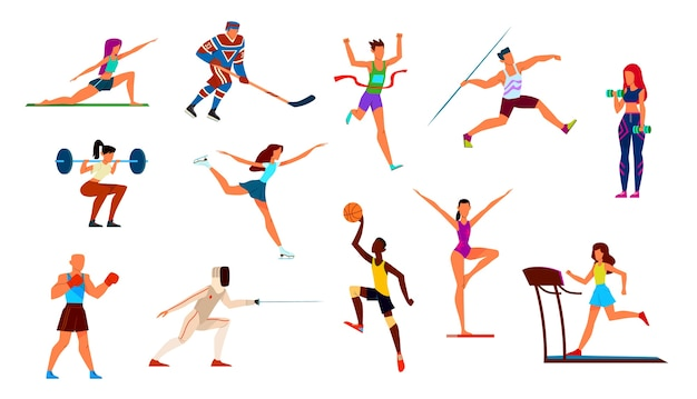 Athletes set. gymnast and runner, boxer and figure skater, basketball player and hockey player.