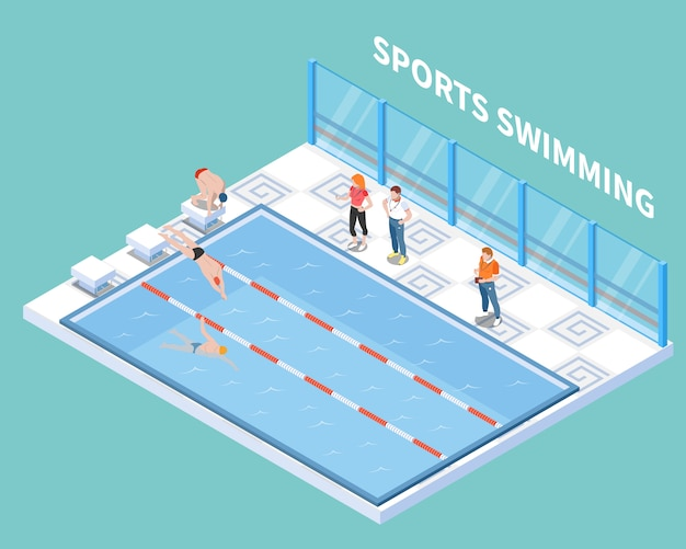 Athletes and trainers during sports swimming workout in public pool isometric composition on turquoise