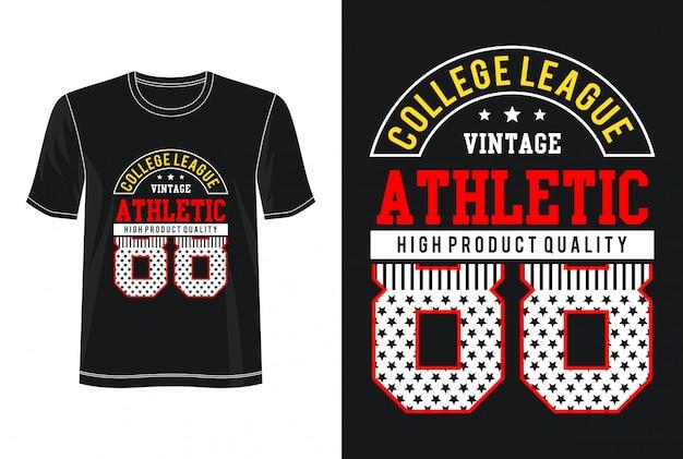 アスレチック88タイポグラフィデザインtシャツ