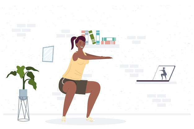 Athletic afro woman practicing exercise in the house  illustration design