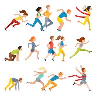 Athletic attractive run man people jogging in summer