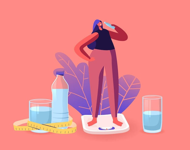 Спортивная (ый) красивая спортсменка персонаж на диетической стойке на весах, пьющая воду из бутылки, освежающей после занятия фитнесом и спортом