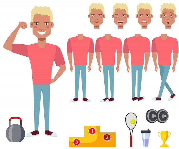 Athletic bodybuilder with dumbbell character set