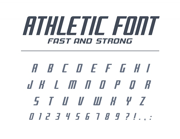 Athletic fast and strong universal font. sport run, futuristic, technology alphabet. letters, numbers for energy, power industry, high speed car racing logo . modern minimalistic  typeface