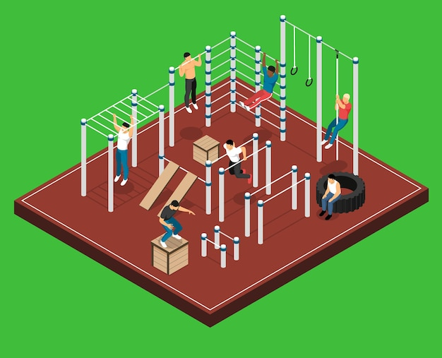 Athletic field on green  with men on various sports facilities during workout isometric