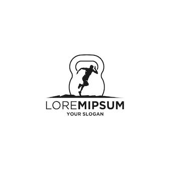 Athletic fitness slhouette logo vector