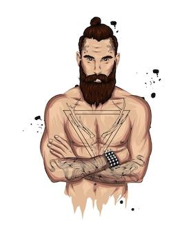 美しい入れ墨を持つ運動男。ヒップスター。