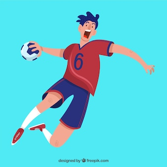 Athletic handball player with flat design