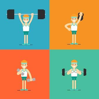 Athletic man doing exercise, illustration set