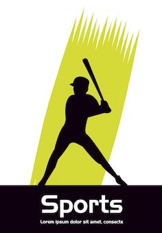 Athletic man practicing baseball sport silhouette